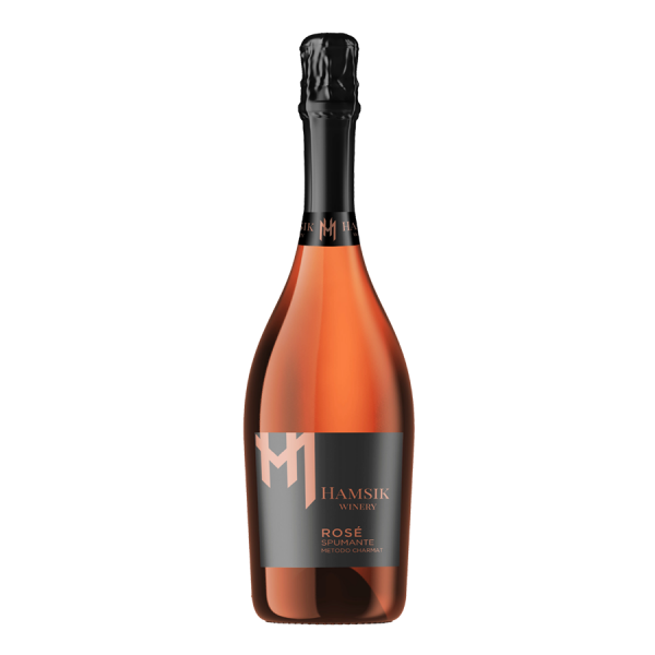 A bottle of sparkling rose wine Hamsik winery ROSE SPUMANTE
